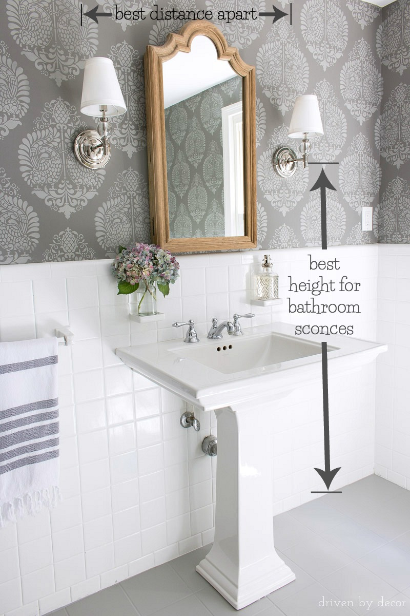 how high best height distance apart sconces bathroom mirror