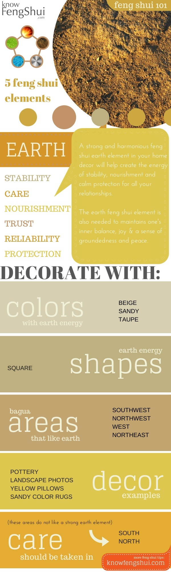 earth feng shui element decor infographic