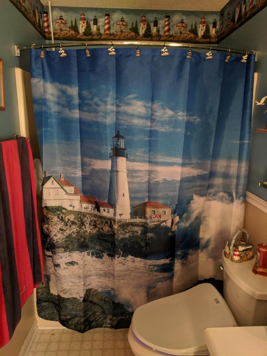 Coastal Nautical Lighthouse Shower Curtain Bathroom Decor 1200x1200