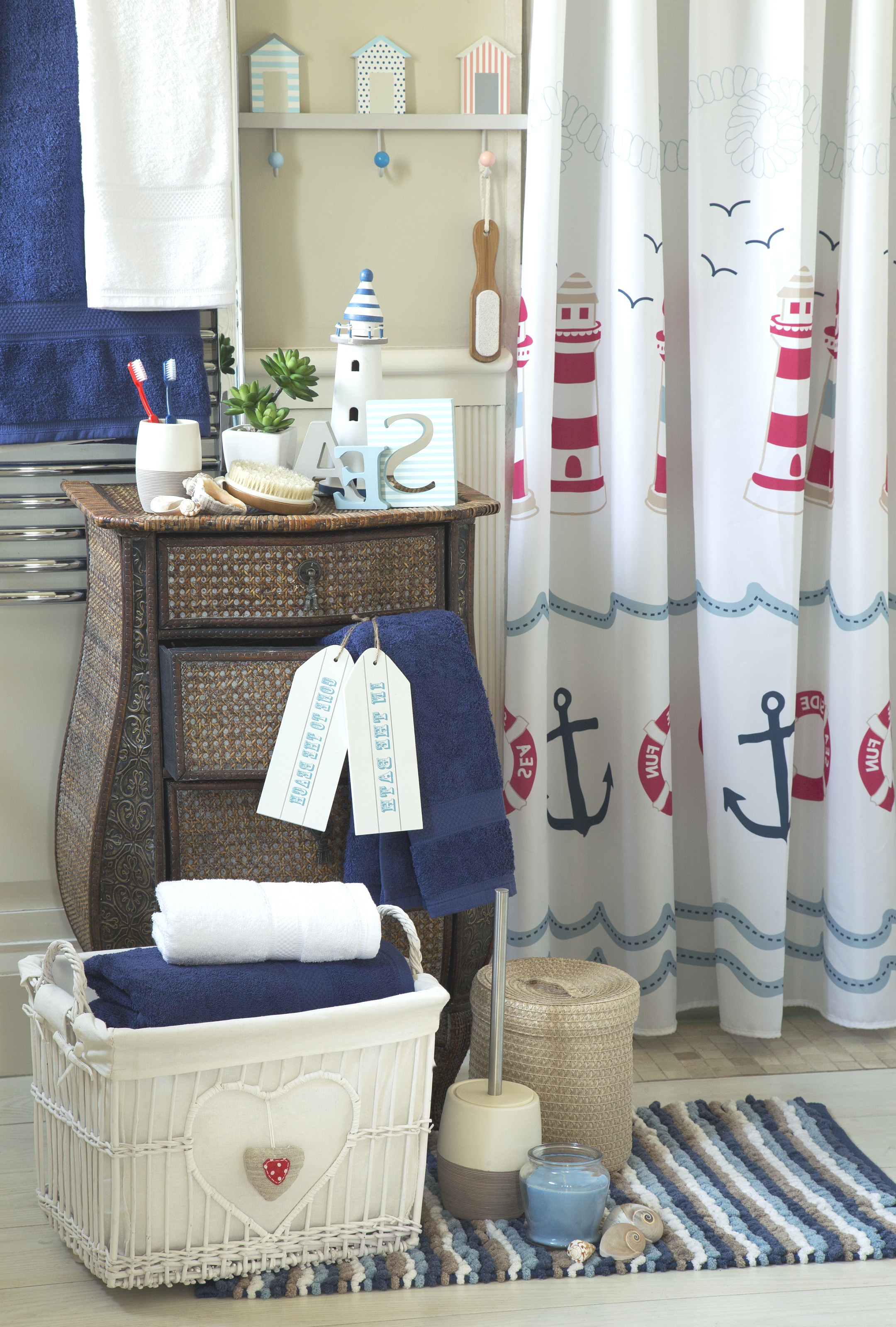 mesmerizing lighthouse nautical bath accessories ideas with rattan regarding nautical bathroom decor 50 ideas about nautical bathroom decor