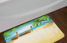 Surfing Bathroom Decor Unique Ambesonne Beach Bath Mat By Paradise Island Coconut Tree And Boats Tropical Coastline Relaxation Environment Plush Bathroom Decor Mat With Non Slip