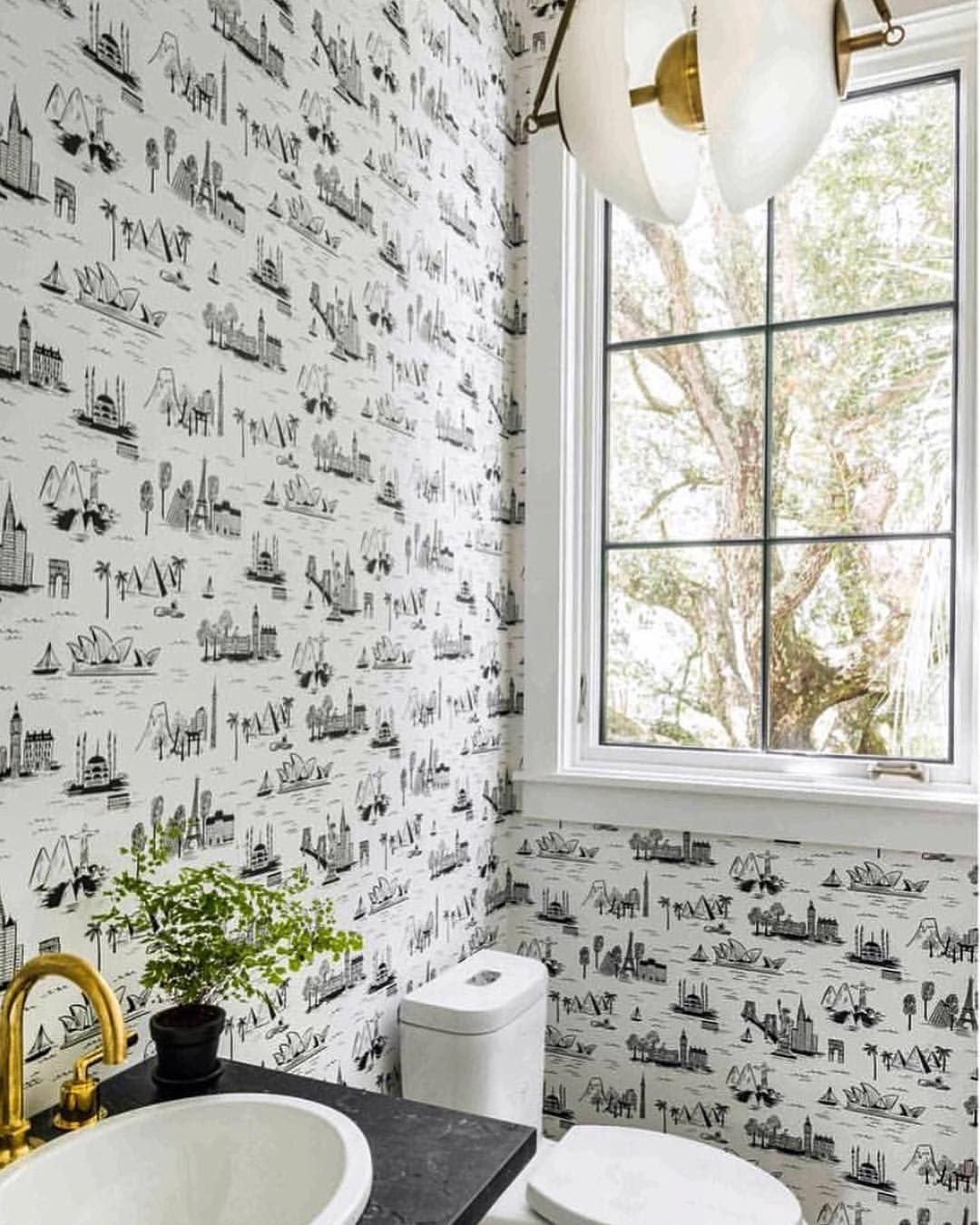 Toile Bathroom Decor Awesome Black and White W Brass Details This Worldly Bathroom Has